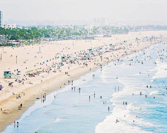 Santa Monica Beach Photo Los Angeles Photography Pale Blue Coastal Decor West Coast Calif Beach Canvas Art California Beaches Photography Beach Photography