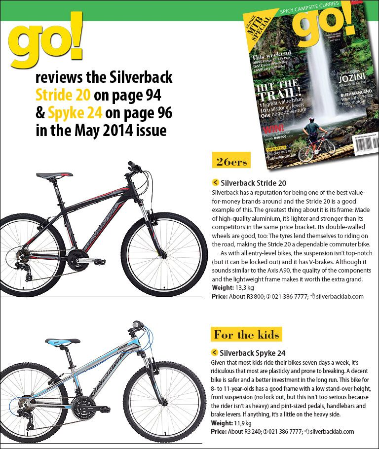 Go Magazine Reviews The Stride 20 On Page 94 Spyke 24 On Page 96