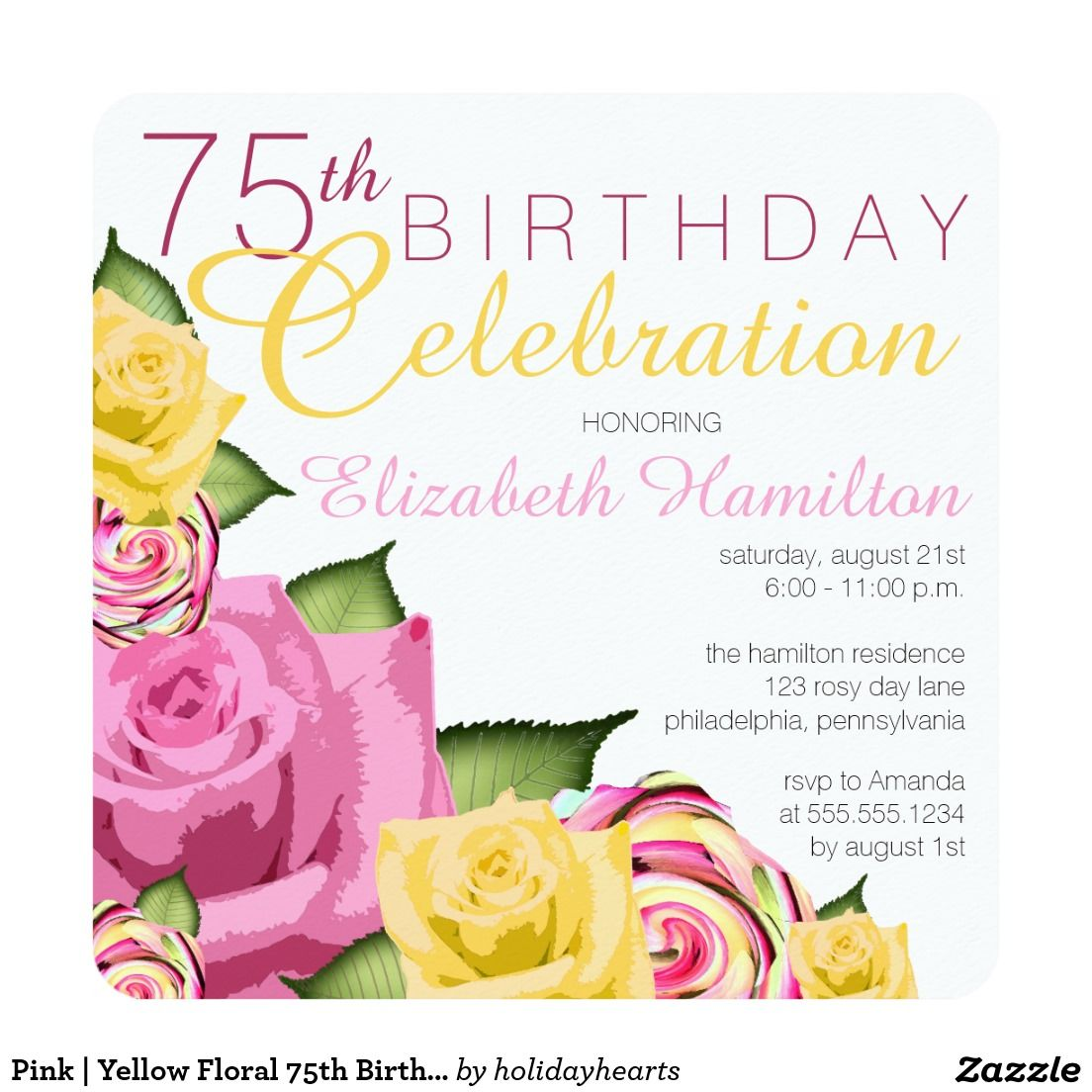 Yellow Floral 75th Birthday Celebration Card