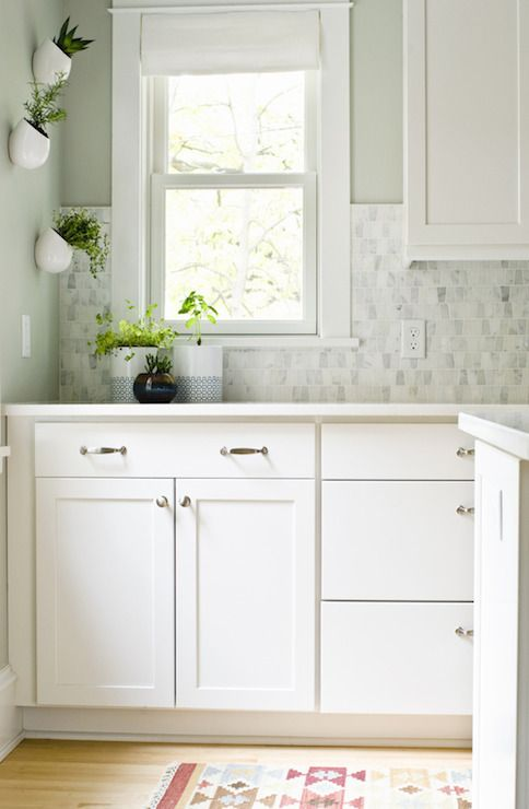 Curbly kitchens sherwin williams aloof gray aloof for Grey green paint color kitchen