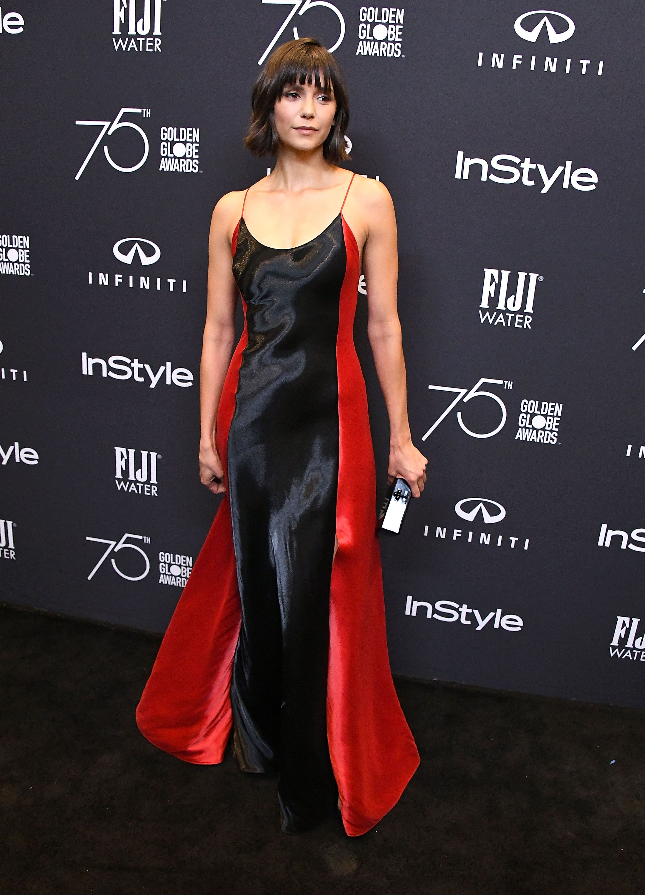 7ac1d3755c Nina Dobrev in a Ralph Lauren Fall 2017 Collection gown at an InStyle  Magazine event celebrating  Globes75.  RLFall2017