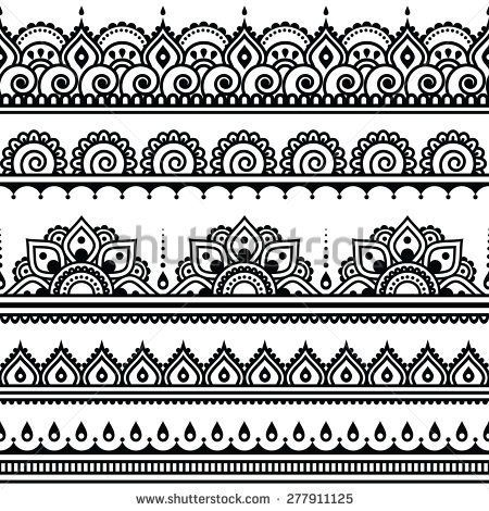 edac246c2 Mehndi, Indian Henna tattoo seamless pattern, design elements ...