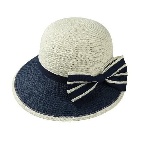 de12bc0c8f4  mothersday  AdoreWe  TomTop Costumes - TomTop New Fashion Women Bow Straw  Hat Contrast Color Wide Brim Summer Beach Sun Cap Floppy Trilby Hat ...