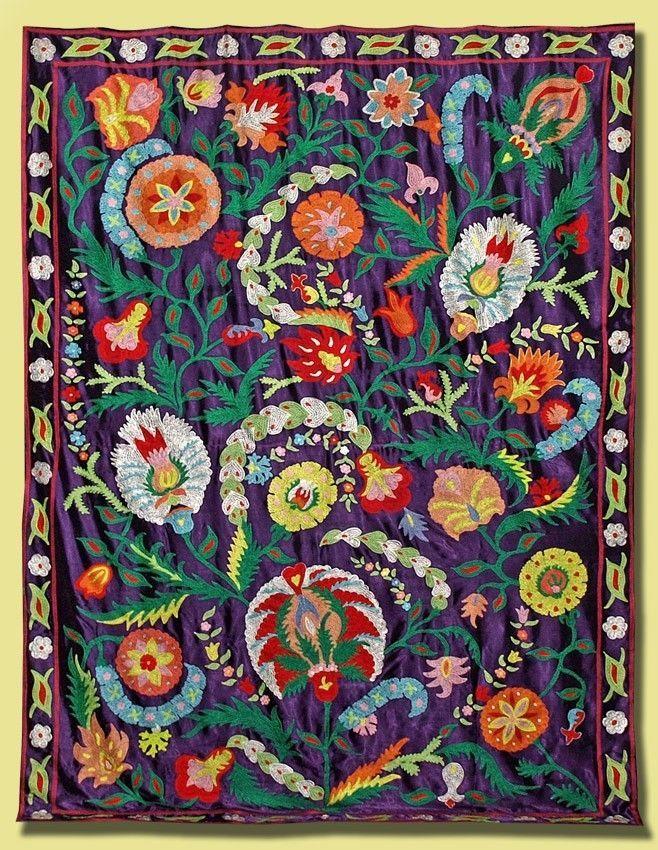 Gorgeous Large UZBEK Ottoman Silk Embroidery Suzani V1640 | eBay