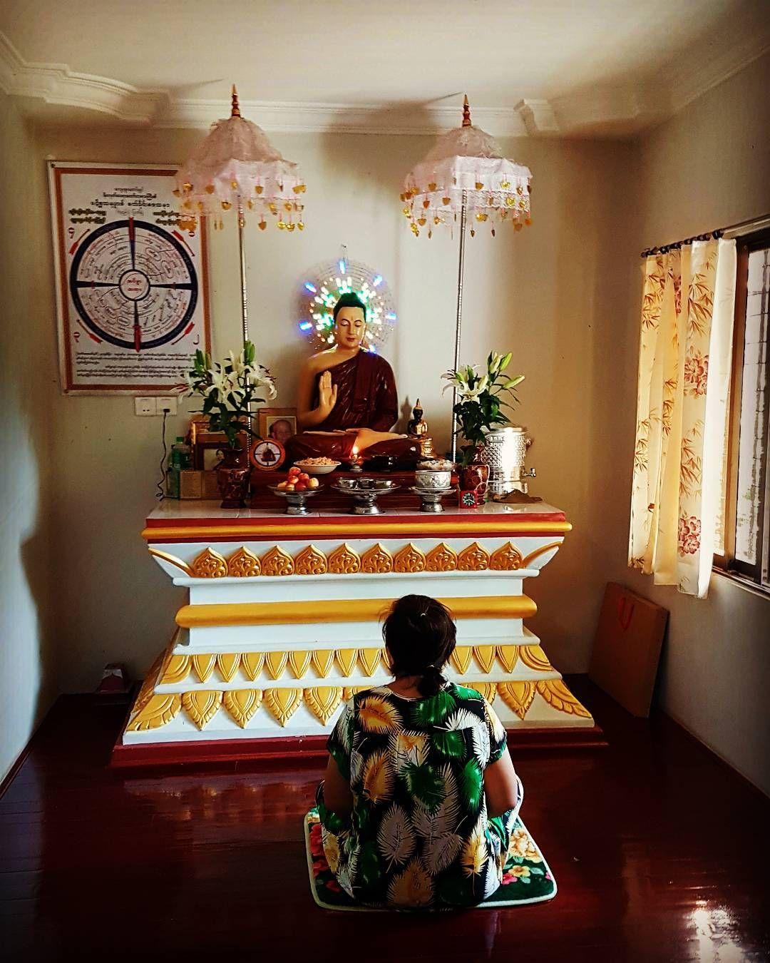 A Typical Burmese Buddhist Shrine Room One May Meditate