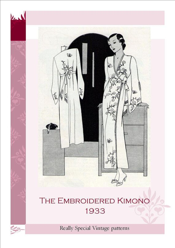 Embroidered Kimono 1933 Vintage Sewing Pattern by PamoolahVintage ...