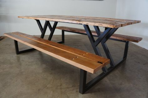 Custom Reclaimed Wood Rustic Modern Industrial Indoor / Outdoor Picnic  Dining Table