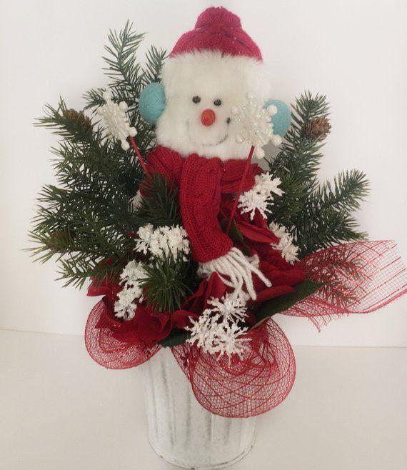 Snowman centerpiece - Christmas home decor - red Christmas - christmas home decor