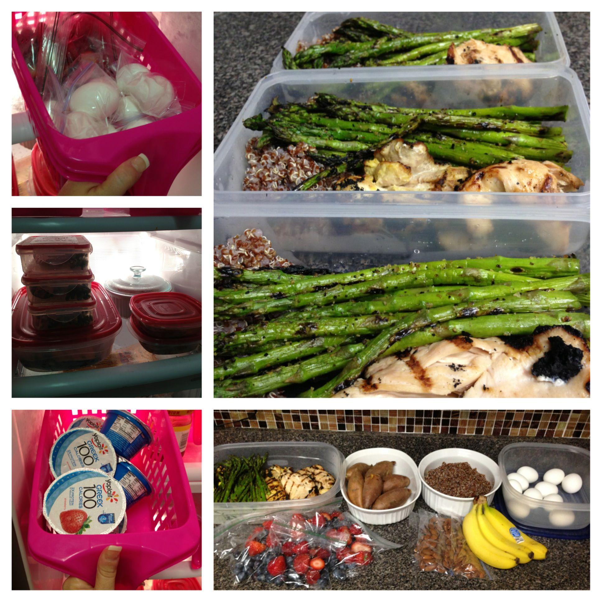 Clean meal prep. Chicken, asparagus, sweet taters, yogurt, boiled eggs,  banana, berries, granola. DO-ABLE! | Meal prep clean eating, Clean meal  prep, Workout food