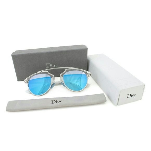 58d55423a246 Dior So real sunglasses New and Authentic Dior So real sunglasses Silver  frame Blue mirror lenses Includes original case Dior Accessories Sunglasses