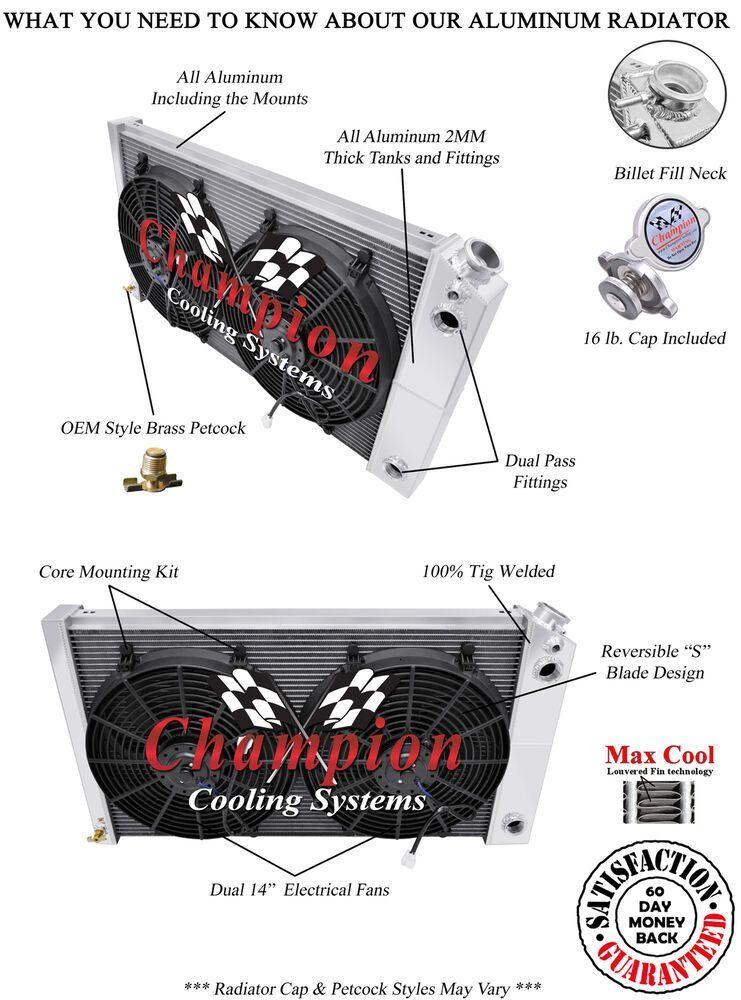 "1968-1973 Chevy Chevelle Aluminum 3 Row Champion Radiator /& 2-14/"" Fans"