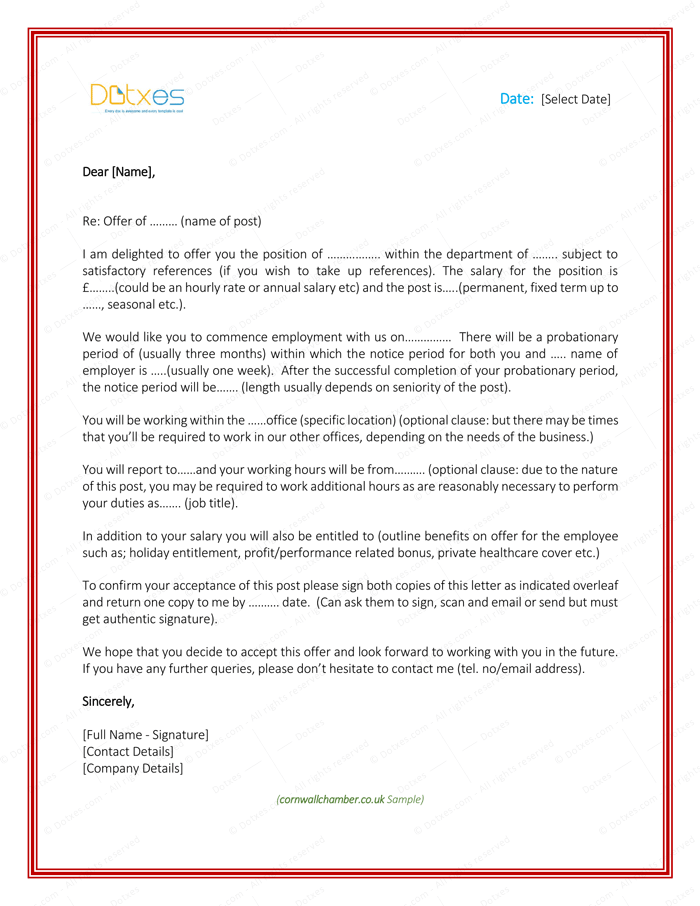 Job offer letter from employer to employee letter templates job offer letter from employer to employee thecheapjerseys Choice Image