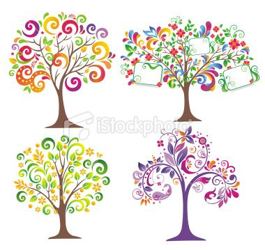 Set Of Colorful Trees Tree Of Life Artwork Tree Art Colorful Trees
