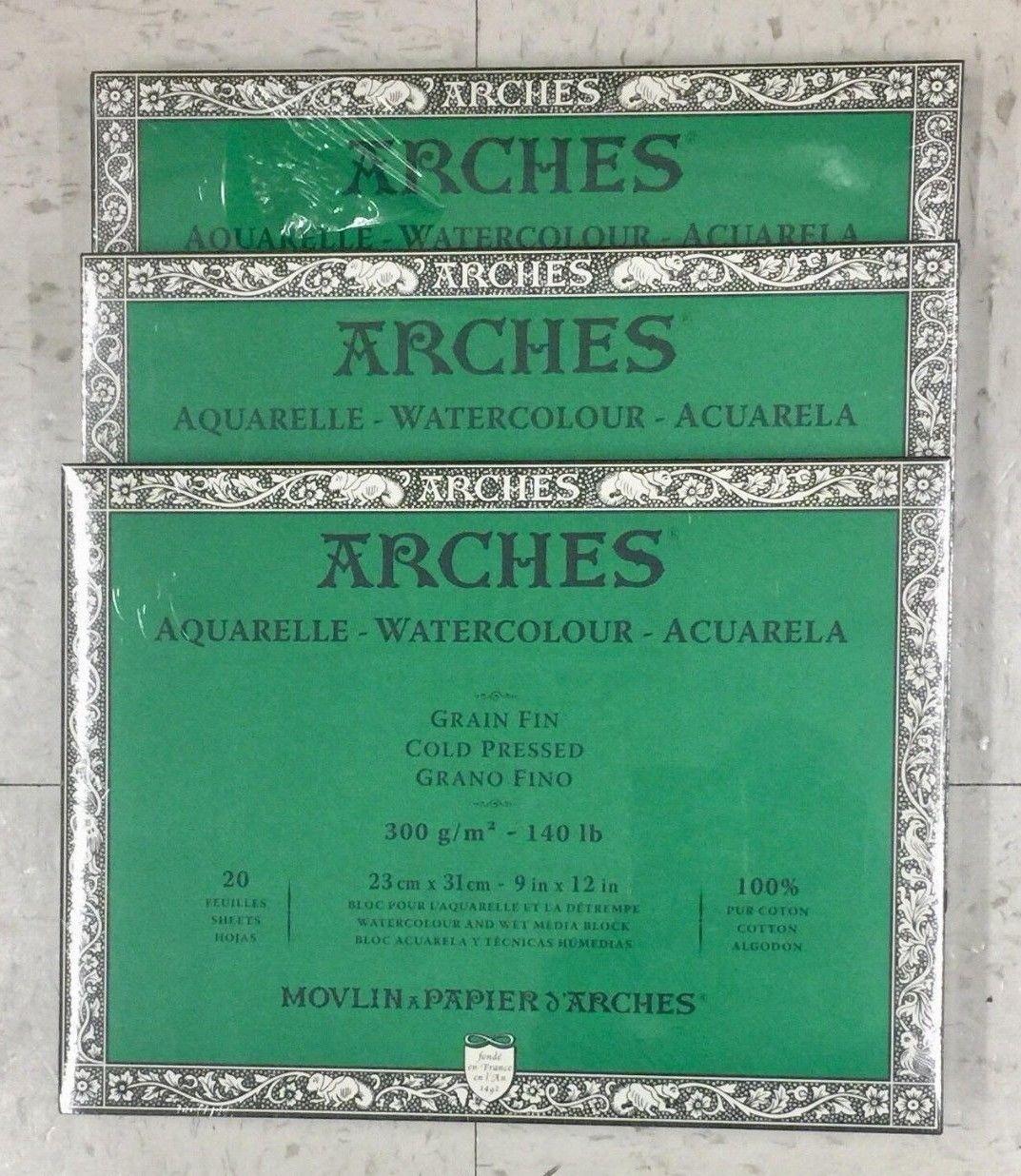 Art Paper 57208 Arches Watercolor Blocks 9 X 12 Set Of 3
