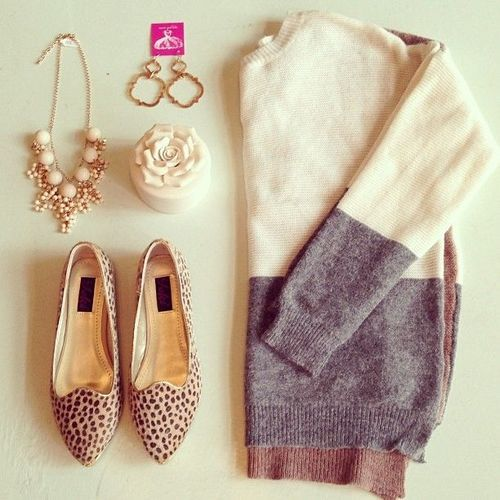 Daily New Fashion : Leopard flats & colorblock sweater