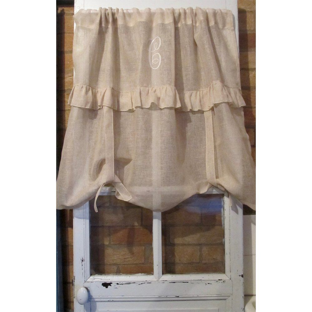 Personalized custom curtain sheer linen tie up ruffle ivory natural