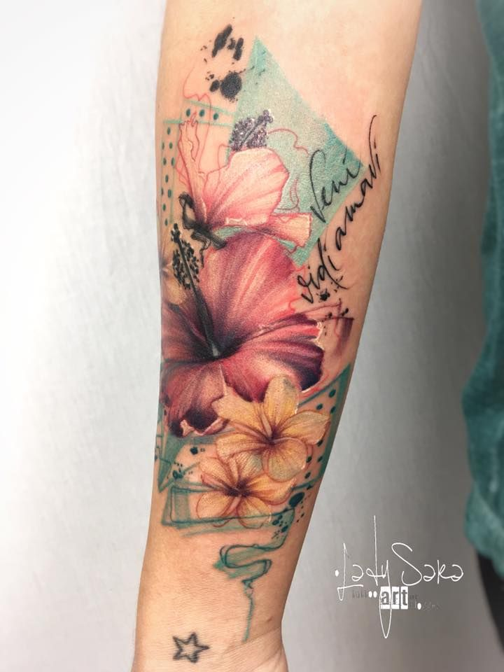 Abstract Flowers Hibiscus Tattoo Avant Garde Hibiscus Tattoo