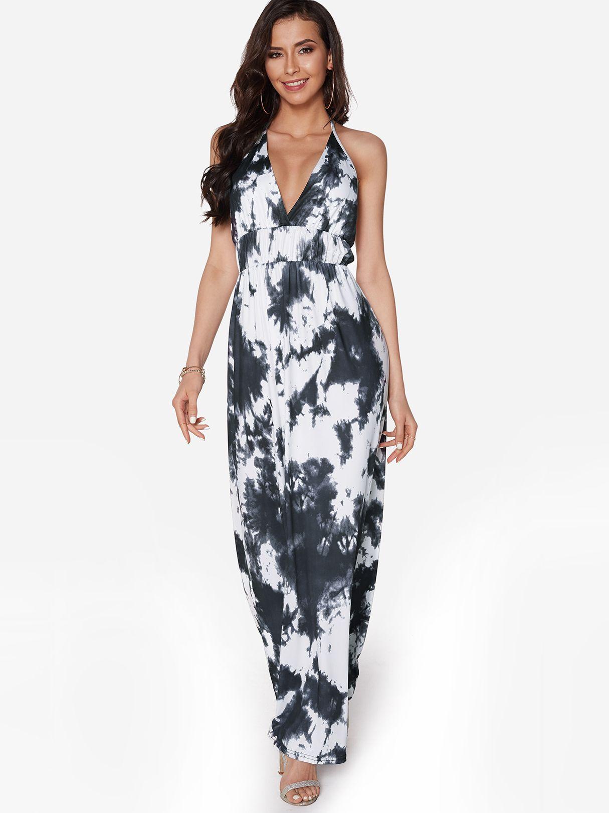 2659abc71638 Black Random Floral Print Backless Design Halter V-neck Sleeveless Maxi  Dress