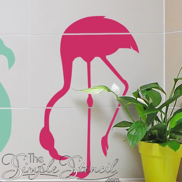 Flamingo 3 Wall Art Simple Stencil Vinyl Summer Time