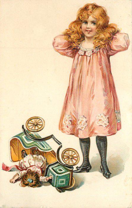 Старинная открытка девочка с куклой, открытка санкт-петербург картинки