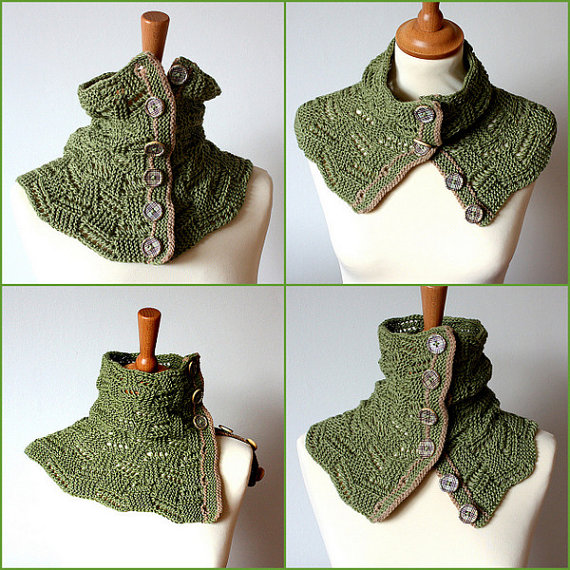 Knitting Pattern Buttoned Lace Spring Cowl (pdf file ...