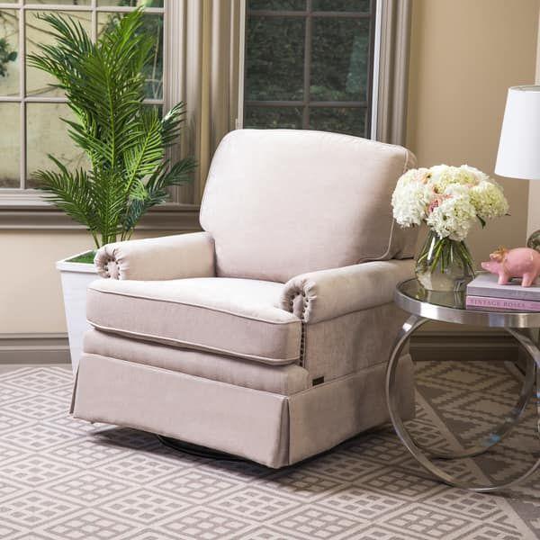 Abbyson Chloe Cream Hardwood/Steel/Fabric Swivel Glider Chair And Ottoman