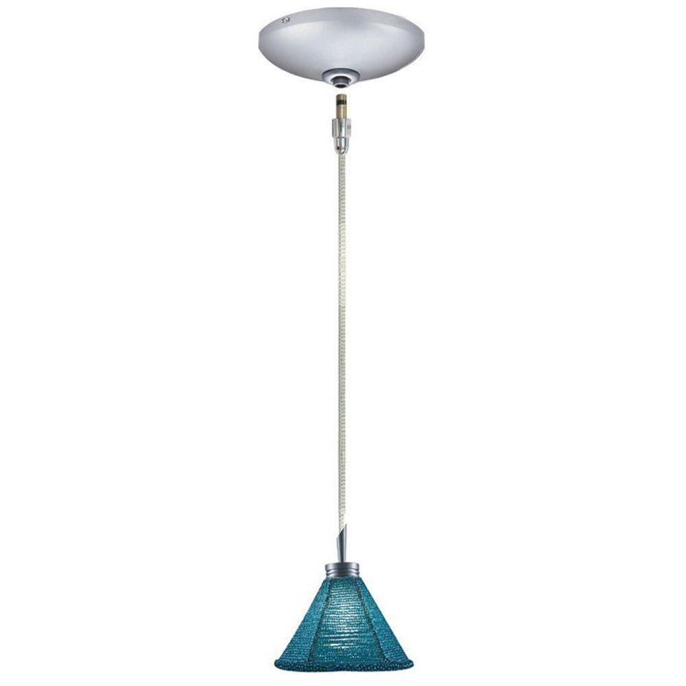 JESCO Lighting Low Voltage Quick Adapt 5 in. x 103-1/8 in. Turquoise Pendant and Canopy Kit-KIT-QAP212-TQ-A - The Home Depot