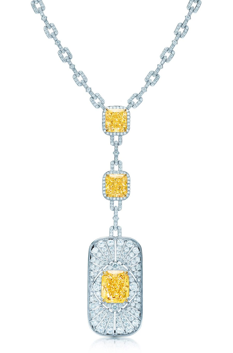 Halpern's Art-Deco inspired necklace in platinum based on jewels in the Tiffany archives.