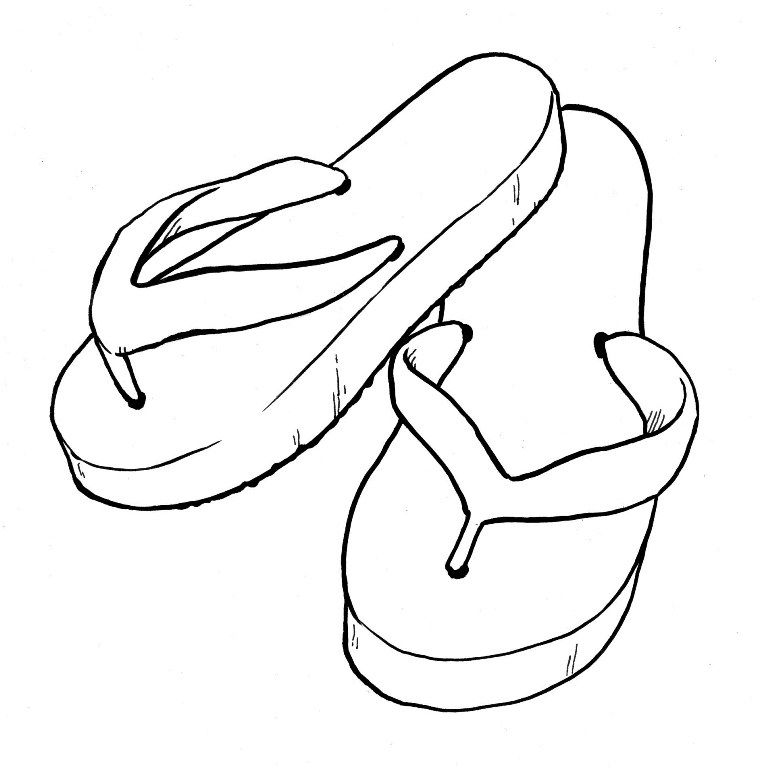 Flipflop coloring page kids coloring page