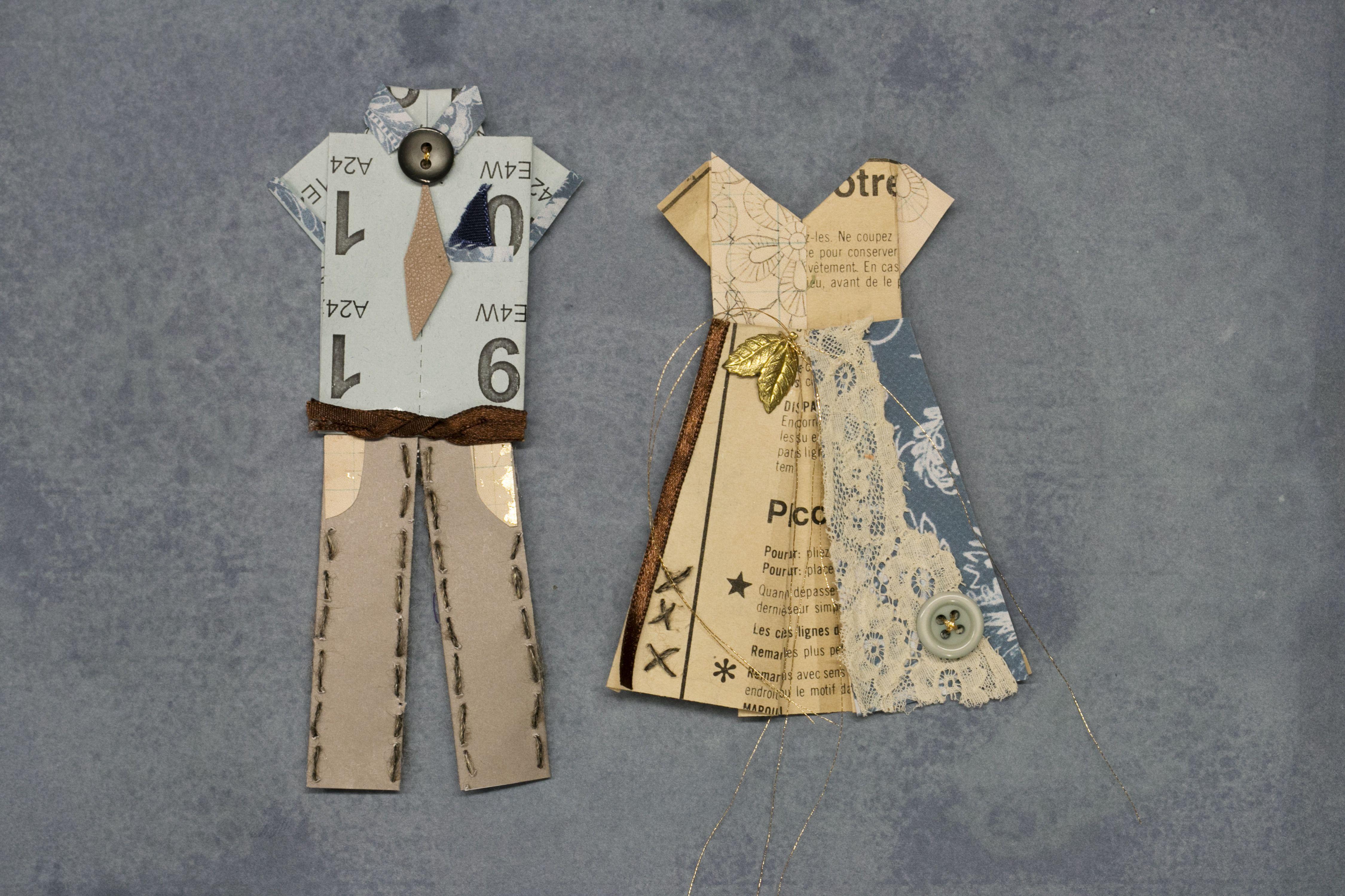Embellished Mr & Mrs origami examples