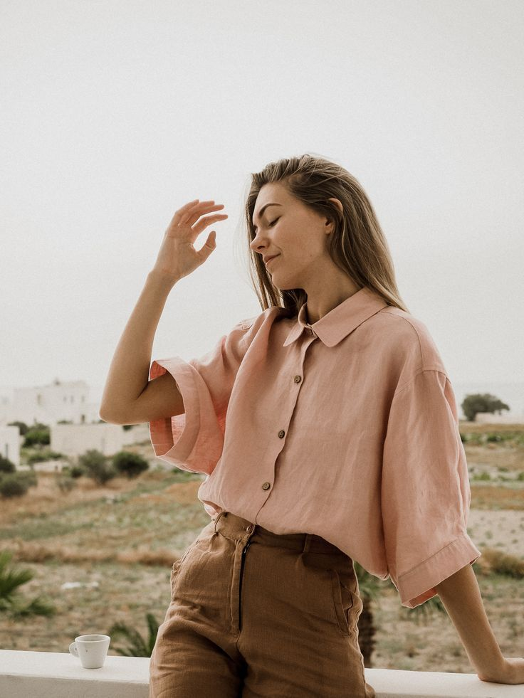 European Summer is calling. Pair it with our French linen Ruby Shirt in Wildflower