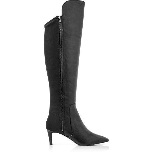 Ash Dashing Over The Knee Heeled Boots (£119) ❤ liked on Polyvore featuring shoes, boots, black, heeled boots, over the knee leather boots, mid-calf boots, over knee boots and black stretch boots
