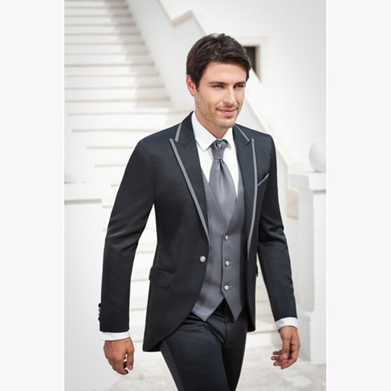 Fashion grey Men Suit 2017 Groomsmen Men\'s Wedding Tuxedo Suits ...