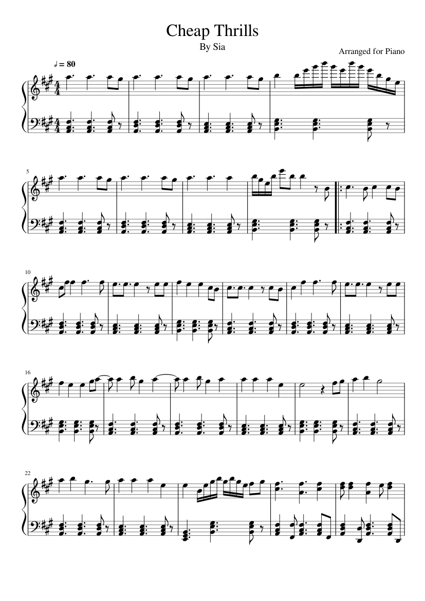 Sia Cheap Thrills Piano Sheets Partition Musique Musique Partition
