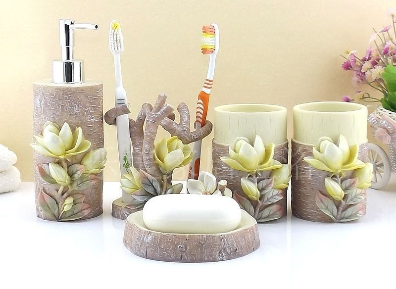 Accessories 5 Pcs Bathroom Carved 3d Magnolia Sets Accessory