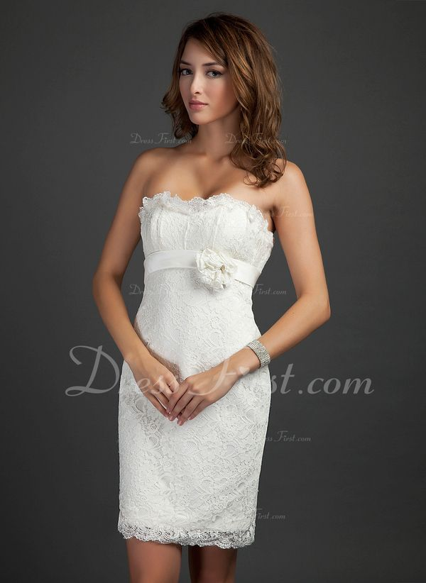 Sheath/Column Strapless Short/Mini Satin Lace Cocktail Dress With Beading Flower(s) Cascading Ruffles (016015339) - DressFirst