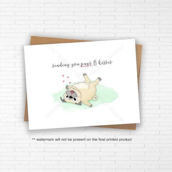 Punny Pug Greeting Card: Pun funny pug dog card by DesignsFrankly