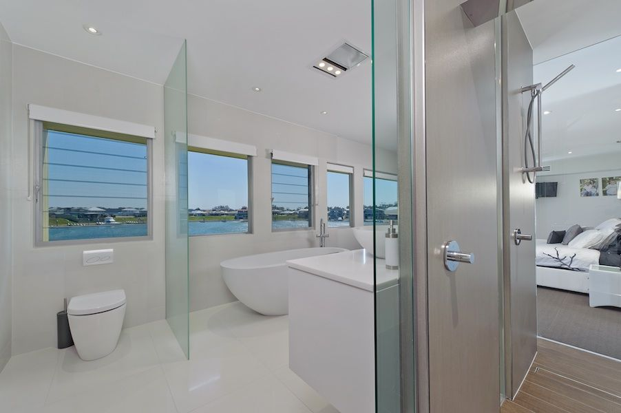 Bathroom Designs With Glass Partition open plan ensuite, glass partition, shower behind vanity, wooden