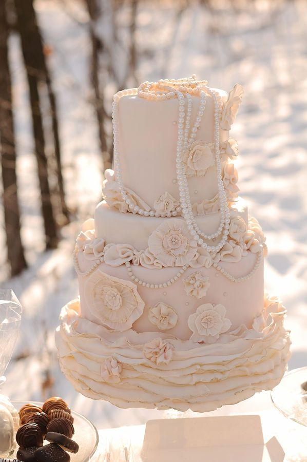 Lace And Pearl Wedding Cake Gorgeous I Think The Draping Pearls