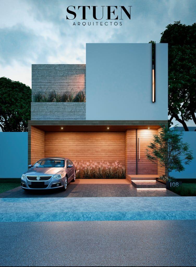 Fachada frontal de stuen arquitectos moderno madera acabado en madera