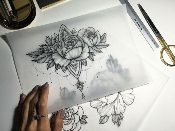 pfingstrose zeichnen blumen zeichnung, ▷ 1001 + ideen für blumen tattoo designs und ihre bedeutungen, Design ideen