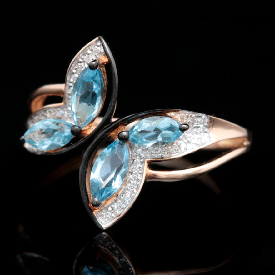 14K Rose Gold Swiss Blue Topaz and Diamond Butterfly Ring