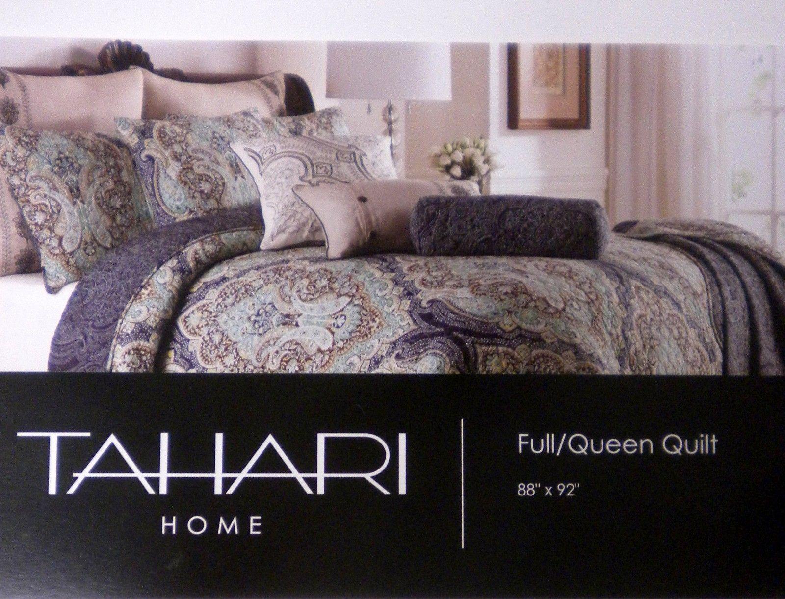tahari rich medallion 3pc full queen quilt & sham set new navy