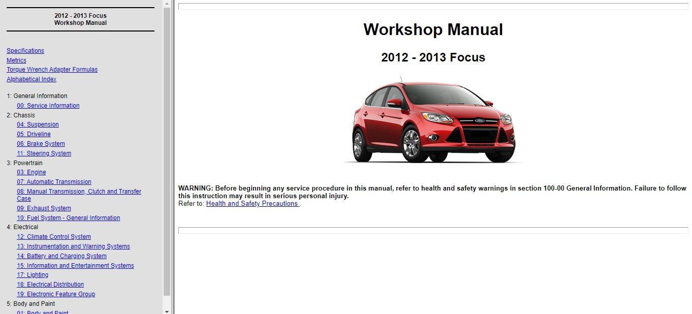 2012 2013 Ford Focus Service Repair Manual Wiring Diagram In 2020 Ford Focus Ford Repair Manuals
