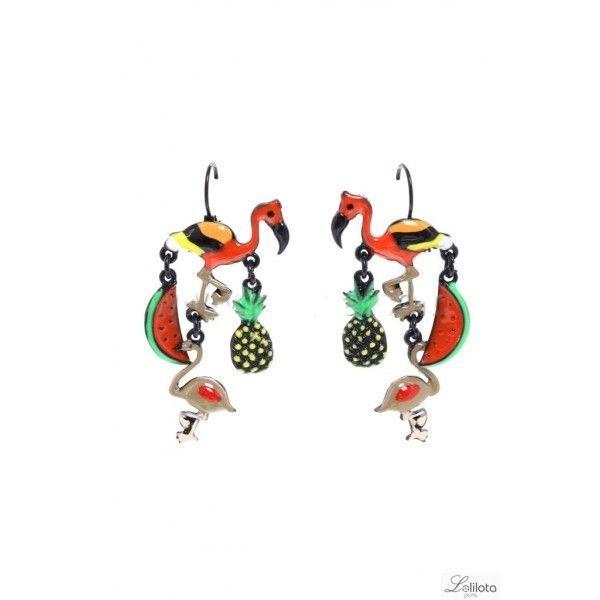 Boucles d\'oreille perroquet et pastèque rouge Lol Bijoux