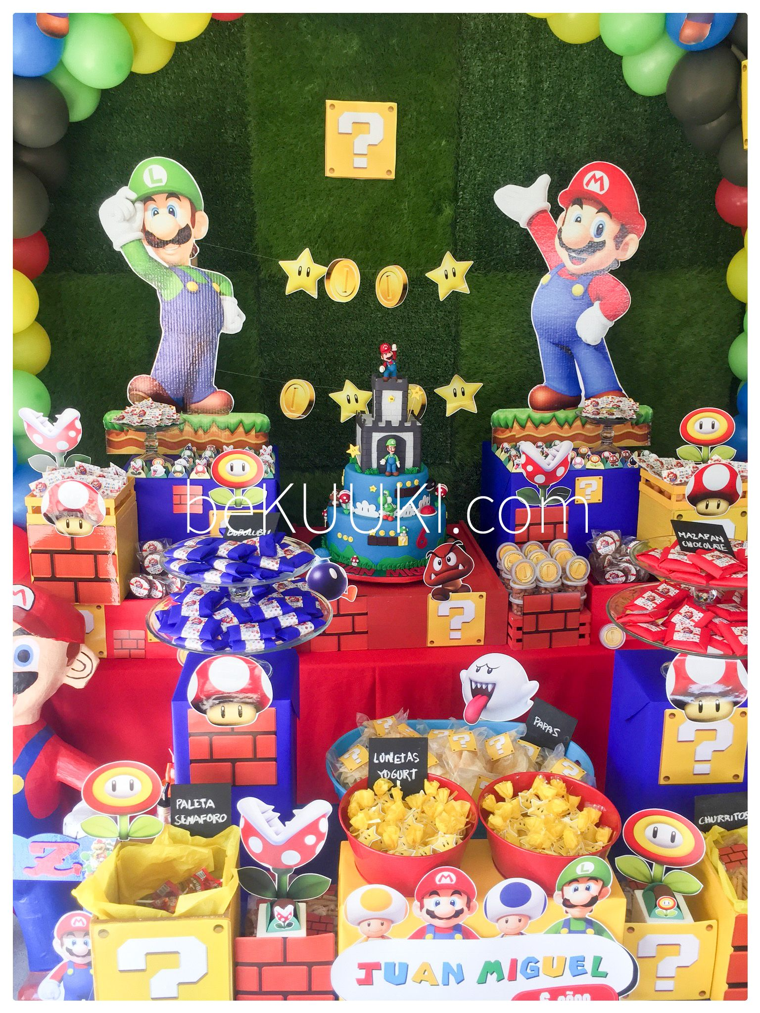 Mesa De Dulces Candy Bar Cumpleaños Mario Bros Luigi