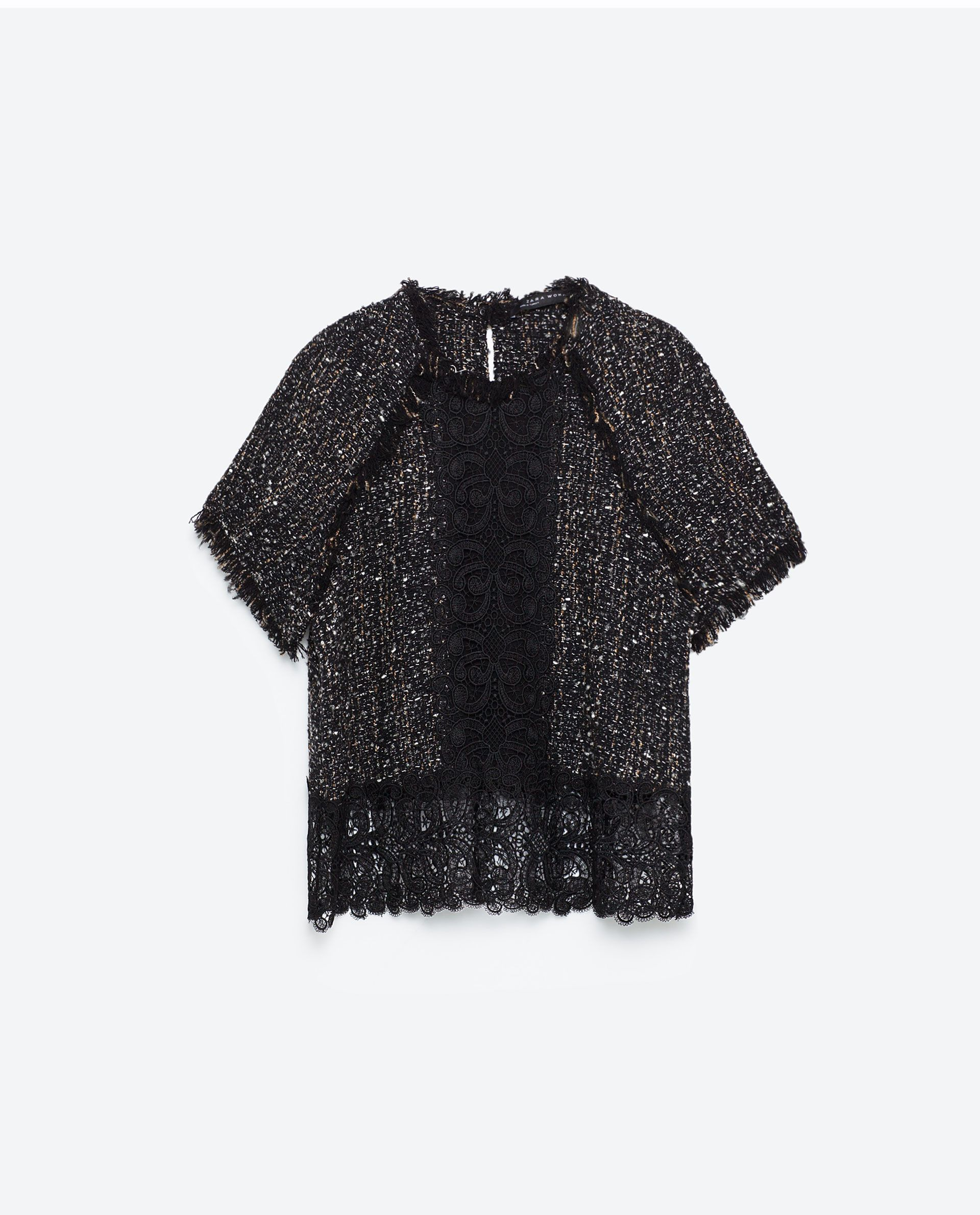 7afeecc193 FRAYED TWEED TOP WITH LACE - NEW IN-WOMAN | ZARA Finland | Fall ...