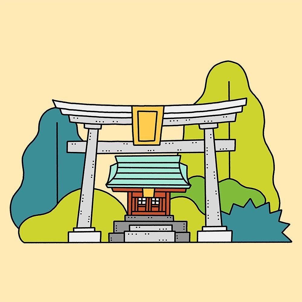 Shrine Fukui Japan Illustration Drawing Japan Fukui Countryside House Garden Shrine Summer Country Traditional Sunny Hot Illustrated Illustra