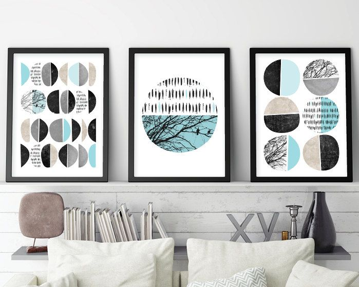 Mid Century modern set of 3 printable posters in turquoise