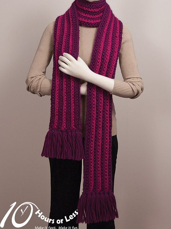 Woolly Waterfall Knit Scarf Pattern Digital File Download Diy